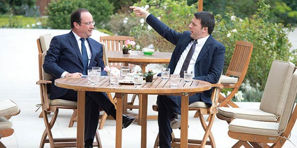 Renzi and Hollande talking about wines - French wines vs Italian wines